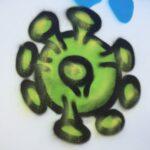 Street art afbeelding corona virus